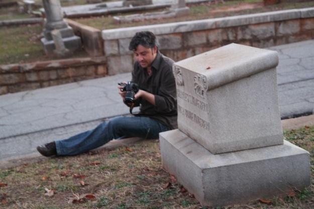 Exploring the cemetery...