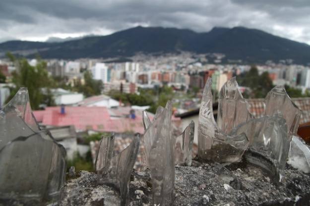 Many homes in the city of Quito have embedded broken bottles in the concrete walls outside their homes - apparently they deter burglary.