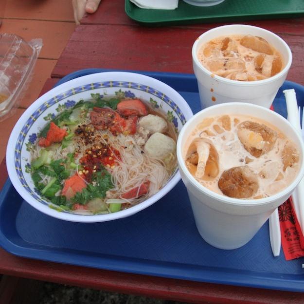 Noodle soup and Thai tea.. perfect brunch