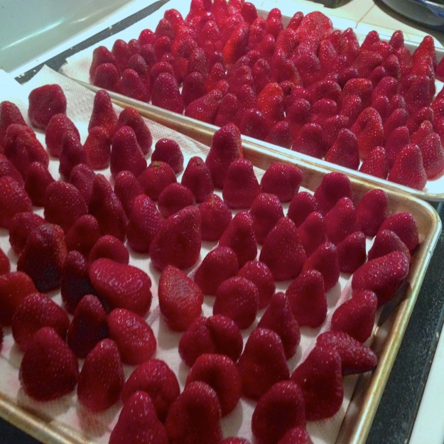cleaned strawberries