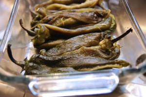 Poblanos all ready to be stuffed
