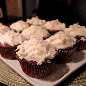 chocolate-coconut cupcakes with coconut-rum frosting